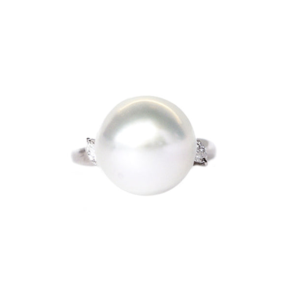 """South Sea Pearl and Diamond"" Platinum Ring"
