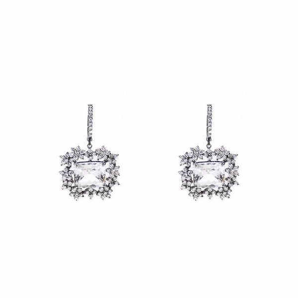 """White Topaz and Diamond"" 18K Gold Earrings"