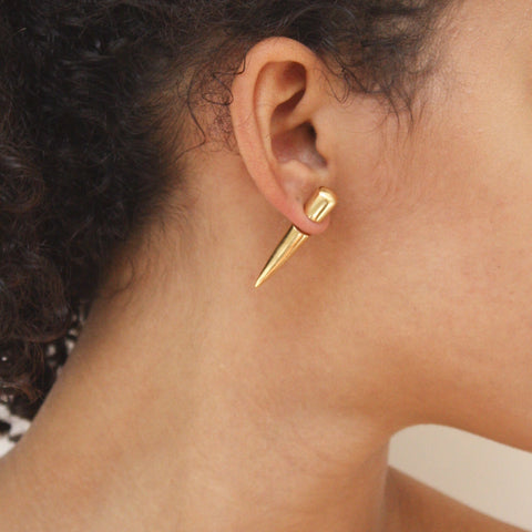 """Cone"" Gold Medium Mono Earring"