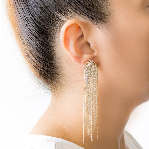 """Crystal Gold Fringe"" Earrings"