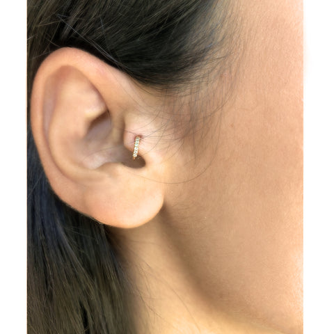 """Rose Gold Diamond Pave Piercing"" Mono Earring"