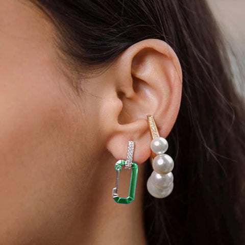 """CHIARA"" SMALL METALLIC GREEN & WHITE GOLD MONO EARRING"
