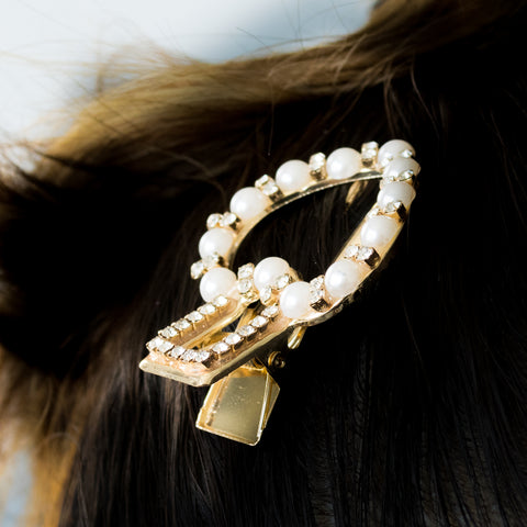 """Crystal and Pearl Heart"" Hair Clip"
