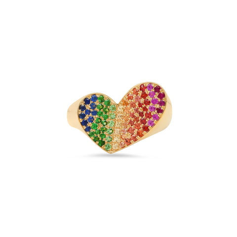 """HEART PENACHO MULTICOLOR SAPPHIRES"" RING"
