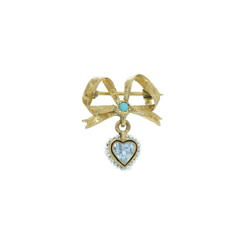 """Antique Heart Gemstone, Turquoise and Pearl"" Brooch"