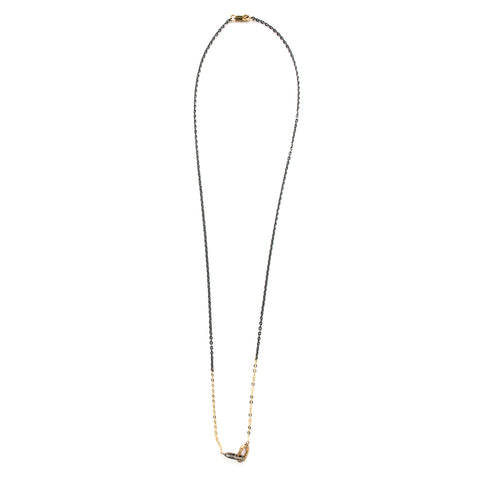 """Textured 2 Tone Link"" 14K Gold Pendant"