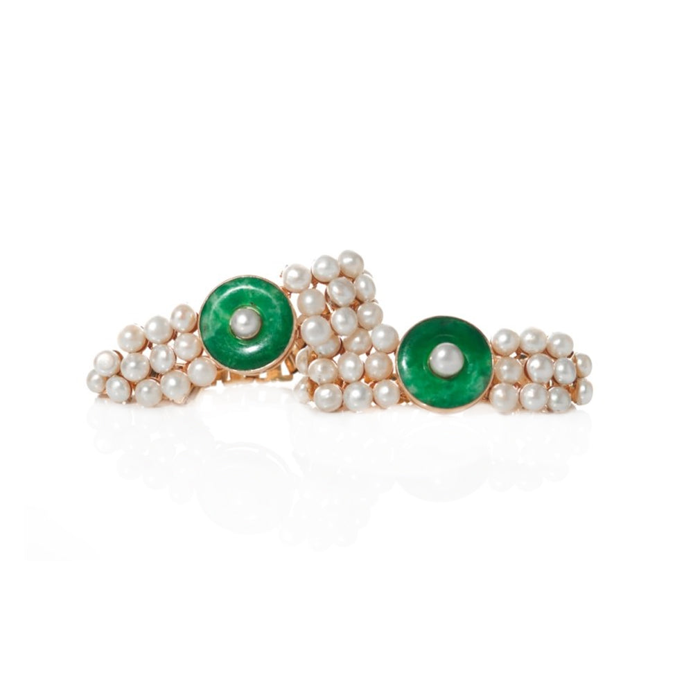 """Chinese Jadeite, Pearl and Yellow Gold Pair"" Bracelets"