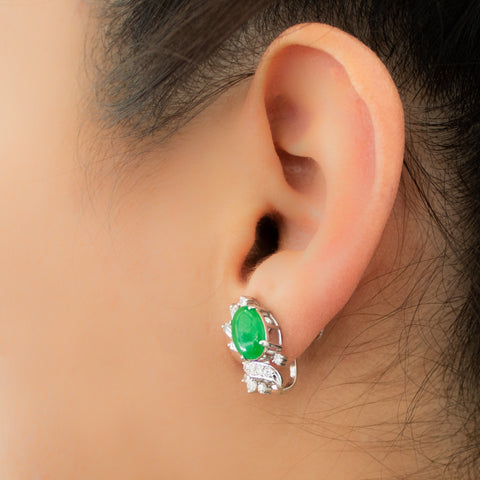 """14k White Gold Jadeite and Diamond"" Earrings"