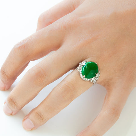 """18k White Gold Jadeite and Diamond"" Ring"