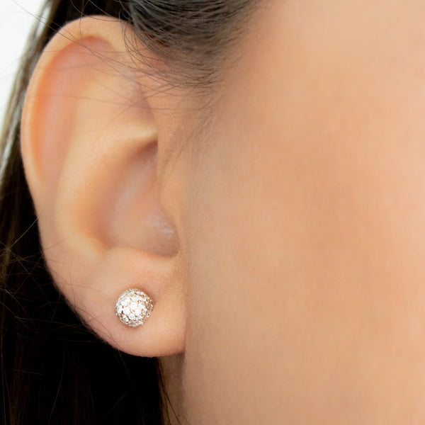 """18k Rose Gold with White Diamonds Cylinder Shape Piercing"" Stud"