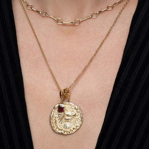 """KARKINOS LARGE DIAMOND COIN"" NECKLACE"