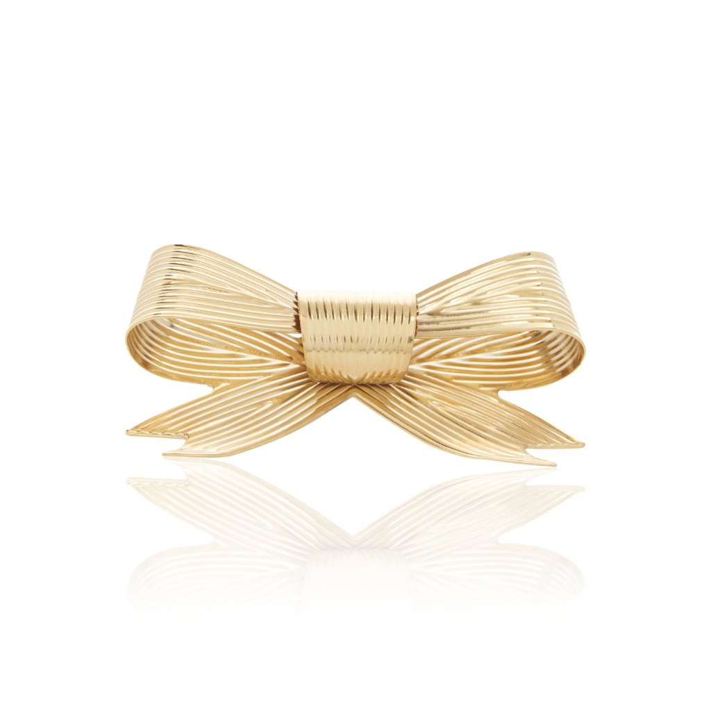 """RIBBED BOW"" LARGE BRASS ARM CUFF"