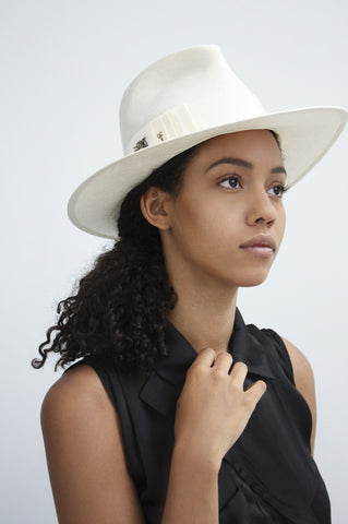 """Pinched Trilby"" Ivory Hat"