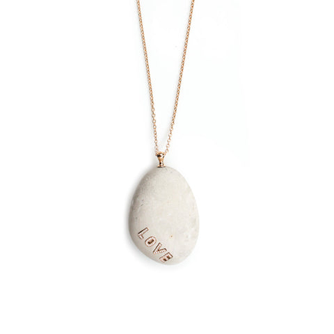 """LOVE"" Beach Stone Necklace"