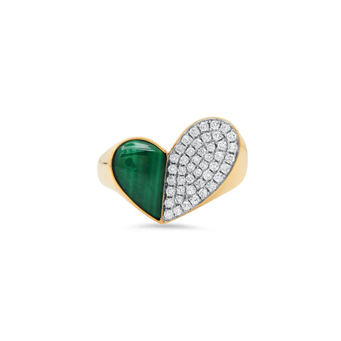 """HEART PENACHO MALACHITE"" RING"