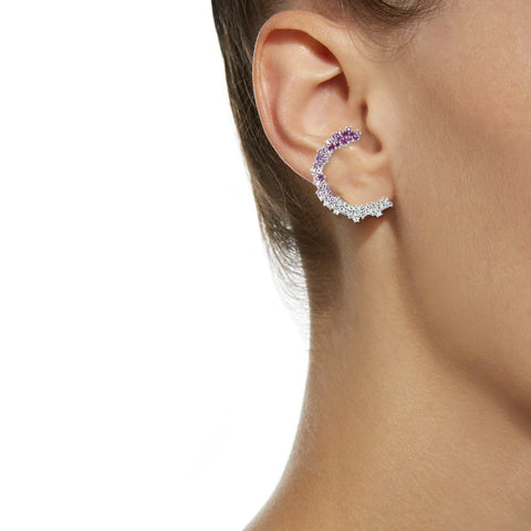 """Pink Degrade Pave Marie"" Right Ear Cuff"