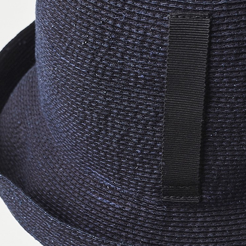 """PAPER LINEN BRAID"" SHORT HAT - INDIGO DENIM"