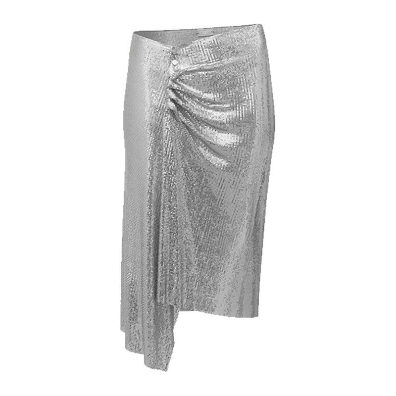 DRAPED WRAP MESH SKIRT