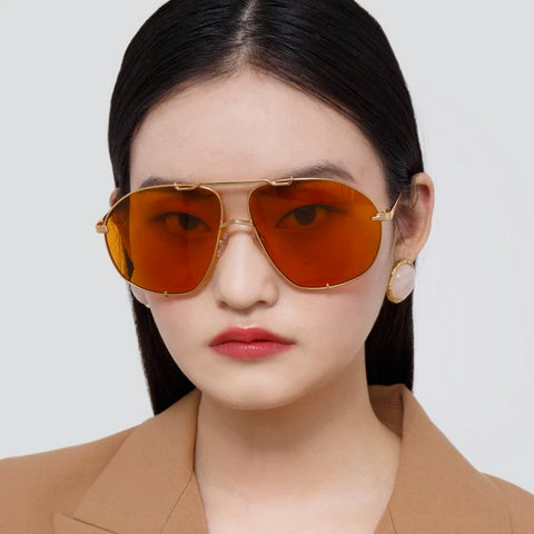"THE ATTICO X LINDA FARROW ""MINA"" YELLOW GOLD AND ORANGE OVERSIZED SUNGLASSES"