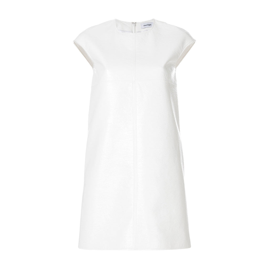 """Vinyl Cap-Sleeve Mini"" White Dress"