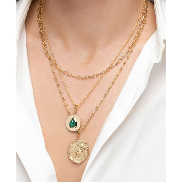 """MODERN BYZANTINE EMERALD SMALL COIN"" NECKLACE"