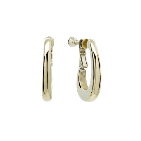 """Pale Gold Oval Clip-On"" Earrings"