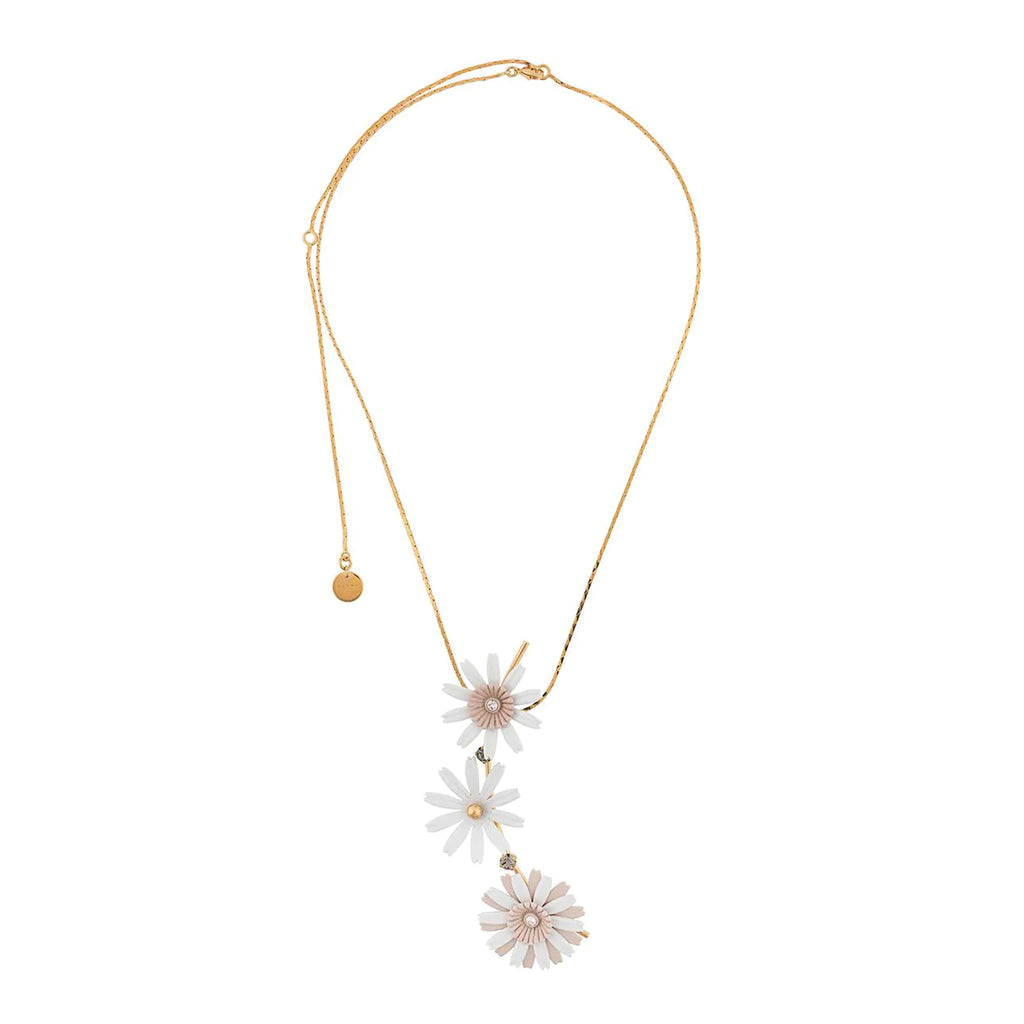 """FLORA IN WHITE ENAMELLED METAL AND RHINESTONES"" NECKLACE"