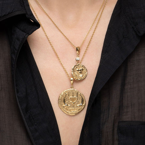"""OF THE SEA LARGE DIAMOND COIN"" NECKLACE"