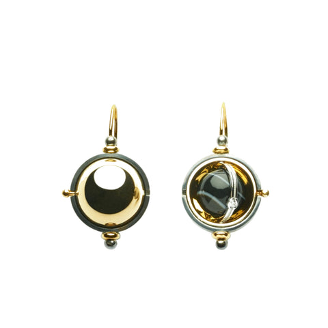 """SPHERE ONYX"" 18K GOLD DIAMOND EARRINGS"