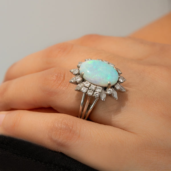 """18k White Gold and Opal Cocktail"" Ring"