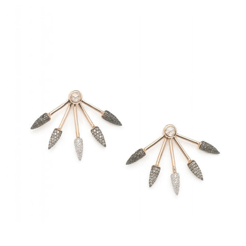 """Ombre Spikes"" 18k Rose Gold Earrings - ARCHIVES ltd"