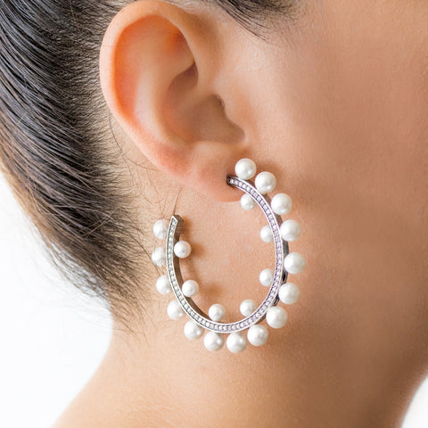 """Large Pearl Hoop"" Earrings"