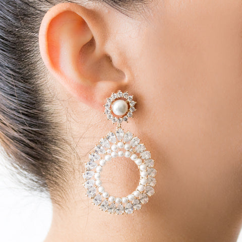 """Crystal and Pearl Drop Hoop"" Earrings"