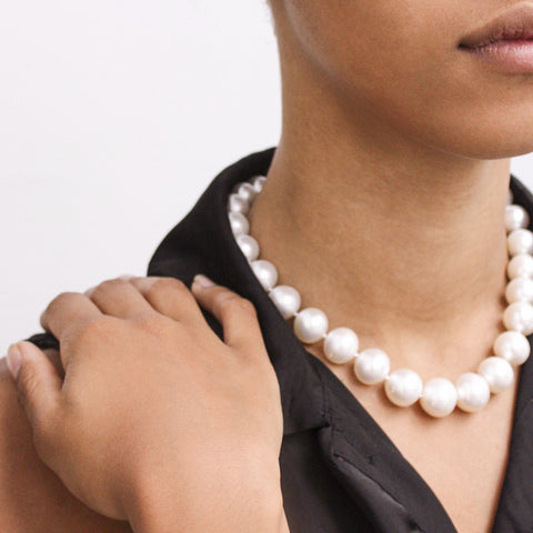 """South Sea Pearl and Diamond Clasp"" Necklace"