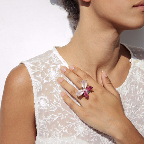 """Pink Diamond Butterfly"" 18K Gold Ring"