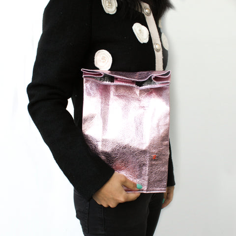 """Candy Metallic Leather"" Medium Lunch Bag"
