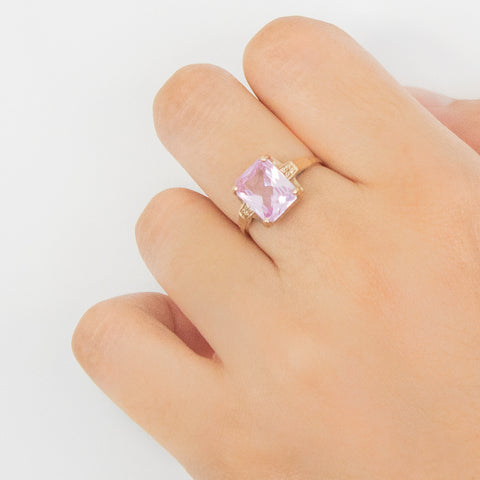 """10k Gold and Pink Topaz"" Ring"
