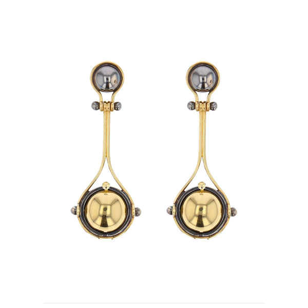 """PLUTON"" YELLOW GOLD EARRINGS"