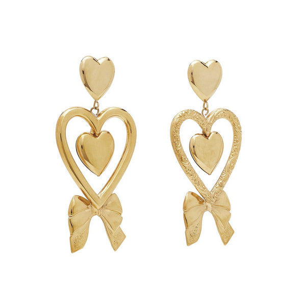 """TRIPLE HEART & BOW"" GOLD-PLATED EARRINGS"