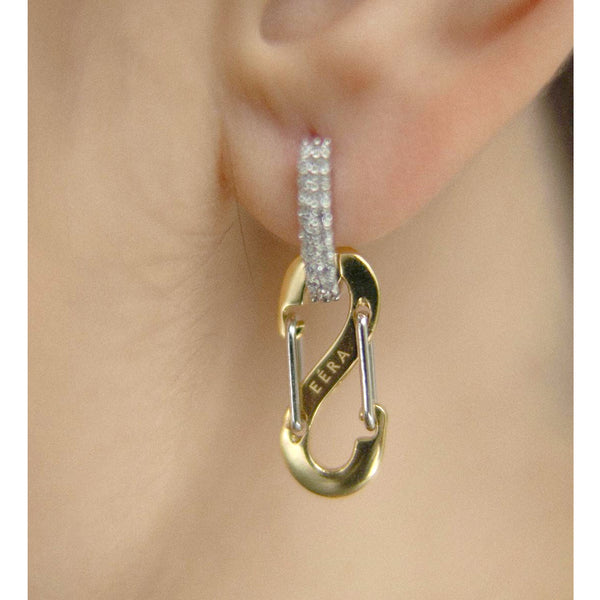 """ROMY"" SMALL YELLOW & WHITE GOLD MONO EARRING WITH DIAMONDS"