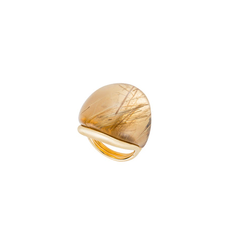 """Rounded Stone"" 18k Gold& Quartz Ring"