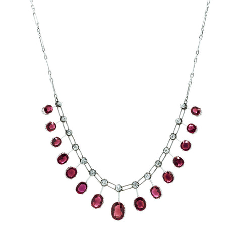 """Vintage Ruby and Diamond"" Choker Necklace"
