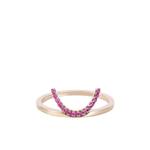 """ELEMENTS Pink Crescent"" 18k Gold Ring"