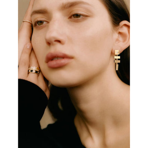 """SCATTERED GOLD BAR AND CARRE DIAMOND STAIRCASE"" EARRINGS"