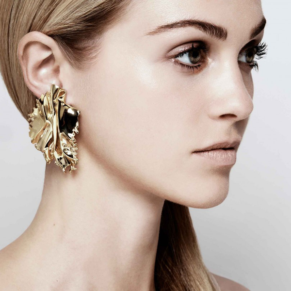 """Algae"" Gold Earring"