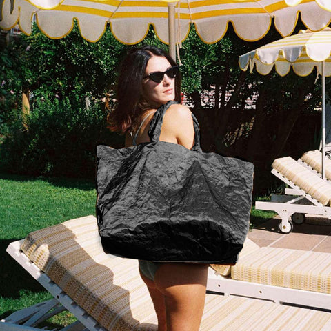 SATIN BLACK BEACH BAG