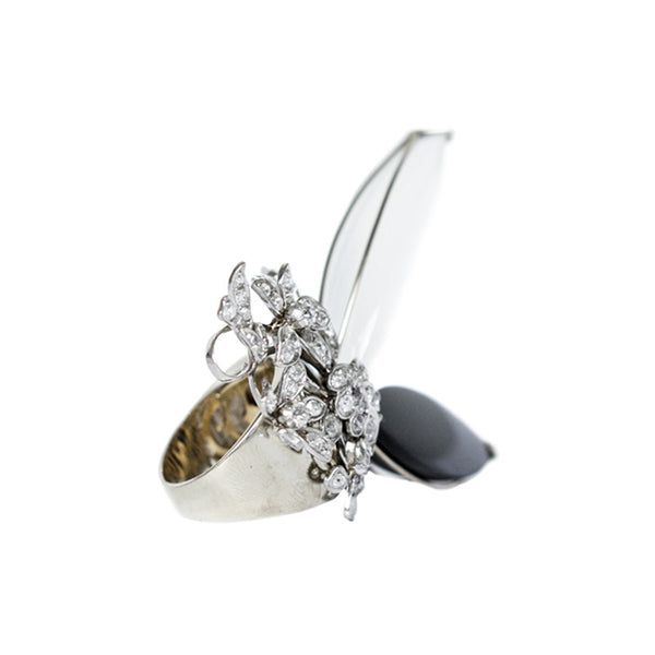 """The Black and White Butterfly"" 18K Gold Ring"