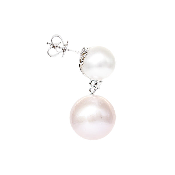 """A Pair of South Sea Pink and White Cultured Pearl and Diamond"" Earrings"
