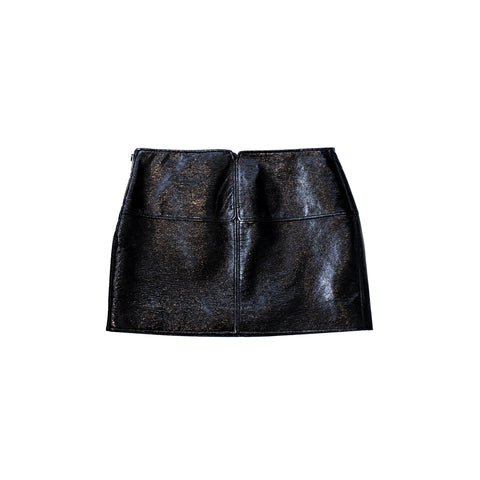"MINI ""SWALLOWS"" BLACK VINYL SKIRT"