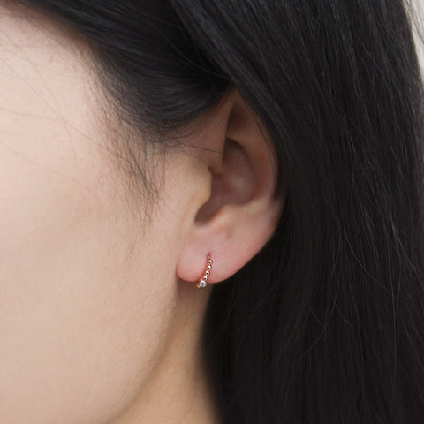 """Ball Beaded Solitaire Tiny Hoop"" Earring"